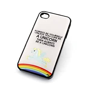 BLACK For Apple Iphone 4/4S Case Cover Plastic Cover - ALWAYS BE A UNICORN rainbow fantasy girly cute gay pride be yourself