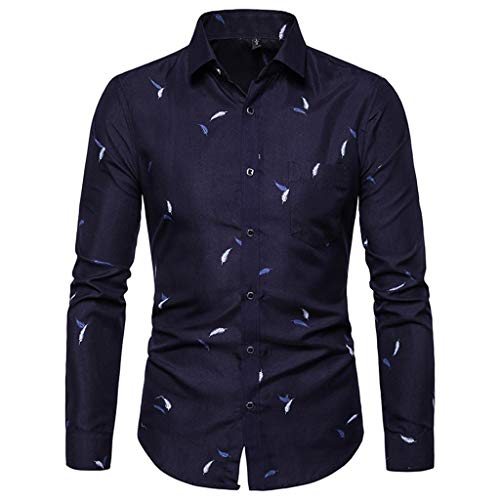 iHPH7 Dress Shirt Long Sleeve Slim Fit Button Down Printed Shirts Slim Comfortable Shirt Men (XL,1- Navy)]()