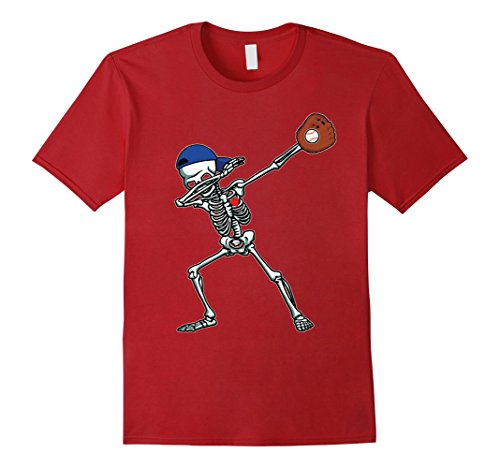Mens Dabbing Skeleton Baseball T-Shirt Dab Hip Hop Skull Gift Small Cranberry