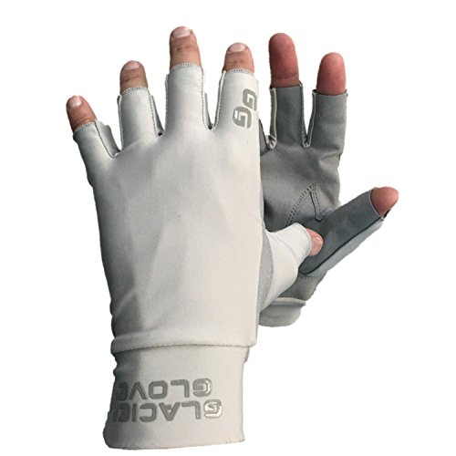 Synthetic Leather Palm Gloves (Glacier Glove Ascension Bay Synthetic Leather Palm Gray Sunglove, X-Large)