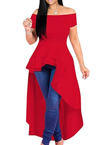 Lrady Womens Off Shoulder Tops High Low Ruffle Short Sleeve Peplum Tunic Blouse Shirt Dress Red M (Turquoise Peplum Top)