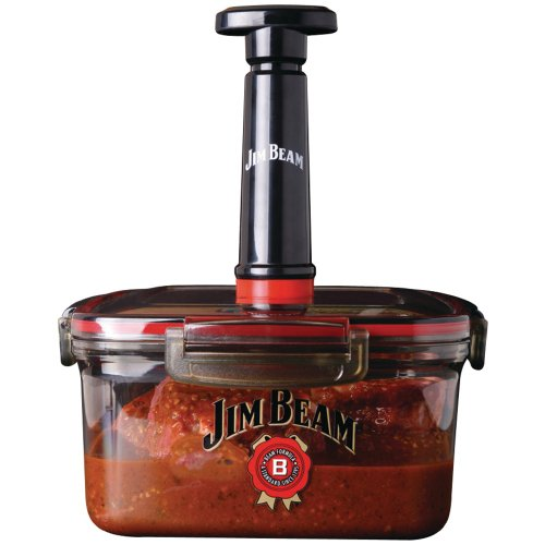 1 - Vacuum Seal Marinade Box, Air sealer pump that removes air from the marinade box, locking in taste & speeding up the marinade process of food, JB0144 by Jim Beam