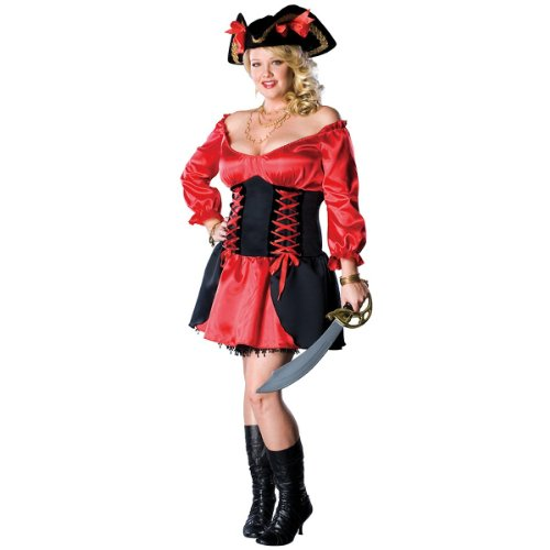 [Secret Wishes Women's Pirate Wench Plus Size Costume, Red/Black, Plus] (Plus Size Halloween Costumes Pirate)