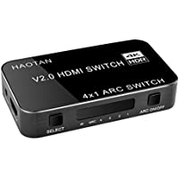 HAOTAN 4k HDMI Switch 4 Port 4x1 HDMI Switcher box Audio Extractor with IR Wireless Remote supports ARC, HDR, 4K x 2K, 3D, 1080p