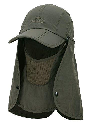 EPYA Sun Hat Outdoors Quick Dry UV Protection Safari Hat w/Flap Neck,Army Green by EPYA (Image #4)