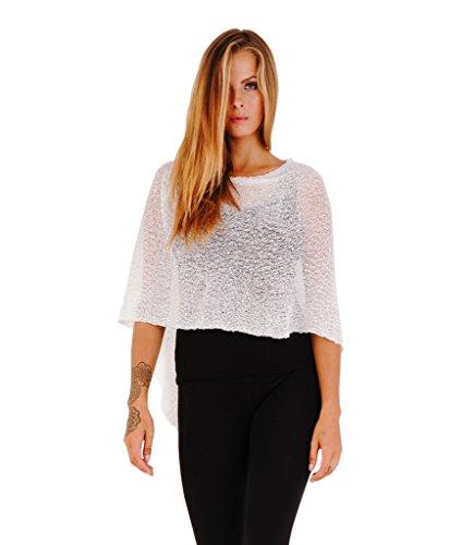 Shu-Shi Womens Sheer Poncho Shrug Lightweight Knit White One Size Fits Most, White, One Size