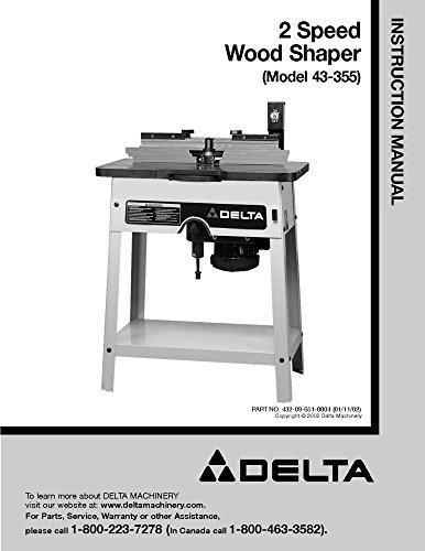 Shaper Delta (Delta 43-355 2 Speed Wood Shaper Instruction Manual Reprint)