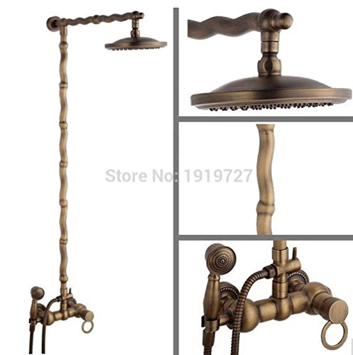 TINS 100% All Brass Lead Free Tumbled Price Bamboo Unique Design Antique Shower Kit Set With Hand Shower in Heritage