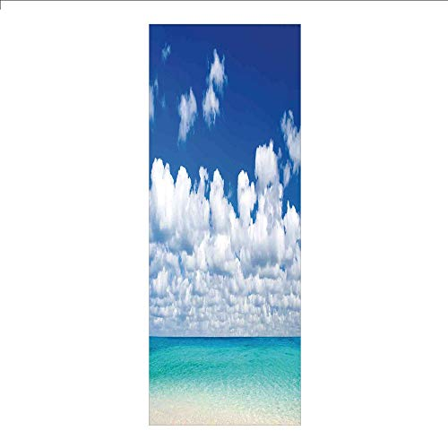 Beach Scene Lighthouse - 3D Decorative Film Privacy Window Film No Glue,Ocean,Paradise Beach and Tropical Hawaiian Style Exotic Sky Color with Clouds Scene Decorative,Turquoise Azure White,for Home&Office