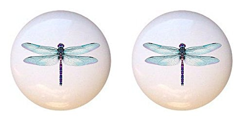 SET OF 2 KNOBS - Aquamarine Dragonfly - Dragonflies in Color - DECORATIVE Glossy CERAMIC Cupboard Cabinet PULLS Dresser Drawer KNOBS