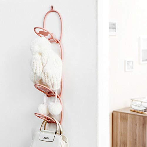 Mission Wall Mount Jewelry - Jkhome Hat Scarf Belt Jewelry Hanger Rack Organizer for Hanging Bags Coats Cap Storage Holder Over Door Wall Up to 6 Hooks (Pink)