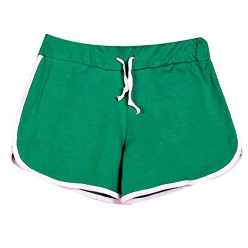 QIYUN.Z Mujeres Del Lazo De La Cintura De Algodon Pantalones Cortos De Playa Al Aire Libre Ocasionales De Los Deportes Pantalones Cortos Verde