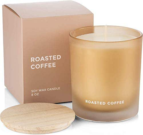 Venta Roasted Coffee Scented Soy Candle with Natural Say Wax for Aromatherapy Stress Relief Home Decor with Clean Fragrance and Decorative Jar (8 Oz Glass)