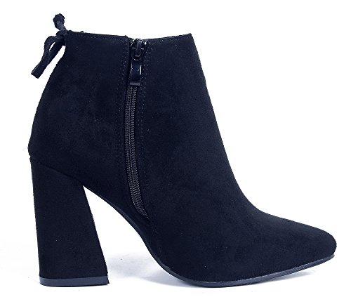 Caña Mujer Tacón Suede Ancho Botas Cremallera Negro Baja Sólido AgeeMi Shoes UnWqSWw1