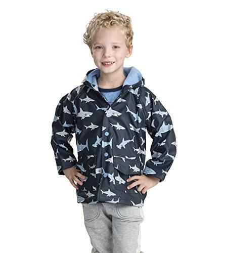 - Hatley Boys' Little Printed Raincoats, Shark Frenzy, 7