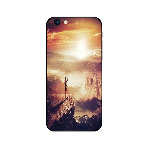Phone Case Compatible with iphone6 iphone6s mobile phone covers phone shell Brandnew Tempered Glass Backplane,Adventure,Traveler Woman with Backpack on Mountain Surveying Sunset Adventure Photo Print, ()