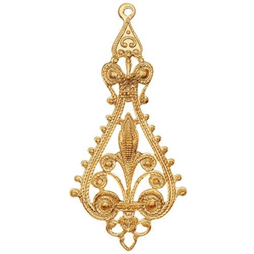Vintaj Vogue Pendants, Filigree Etruscan Drop 55.5x25mm, 1 Piece, Raw Brass (Brass Raw Filigree)