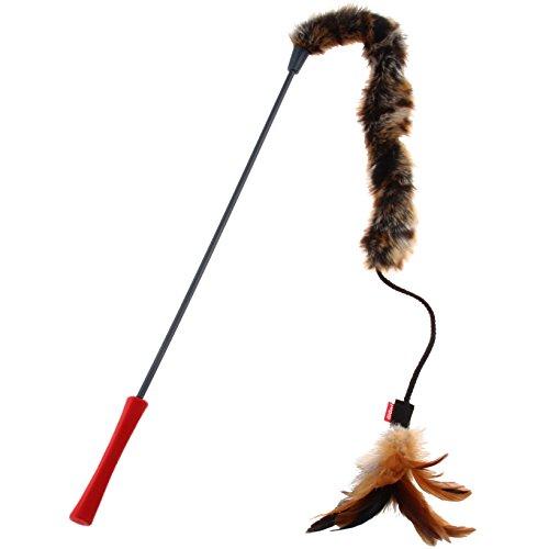 GiGwi 7014 Katzenspielzeug Feather Teaser Katzenangel mit natürlichen Federn und Plüsch, Federspielzeug / Katzenwedel