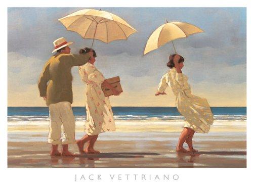 841b74c2f9c The Picnic Party II Jack Vettriano Umbrellas Beach Poster Print 47.25x35.5