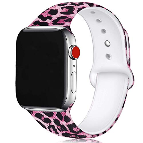U-horn Pink Leopard Print Floral Bands Compatible with Apple Watch Series 4/3/2/1,Silicone Sports Straps Printed Pattern Wristband for iWatch 38mm/42mm/40mm/44mm S/M M/L for Women/Men