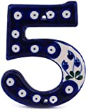 Polish Pottery Hanging Number 4-inch Bleeding Heart Peacock