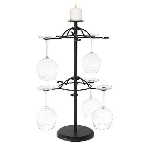Rotating 2-Tier Modern Matte Black Metal Tabletop 10 Wine Gl
