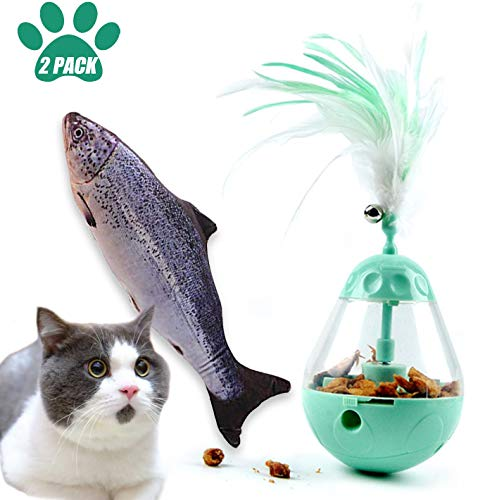 Cat Food Dispensing Ball,Cat Toothbrush Toy Catnip Toys Simulation Fish Shape,3 in 1 Interactive Cat Toy, Automatic Cat…