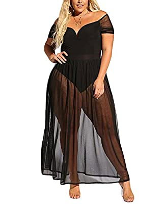 XAKALAKA Women's Plus Size Lace Off Shoulder Sweetheart Bodysuit Sheer Club Long Dress