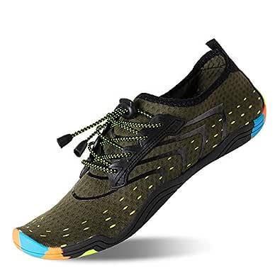 KRIMUS Men Women Water Sports Shoes Quick Dry Barefoot Aqua Socks Swim Shoes for Pool Beach Walking Running (Green-37)