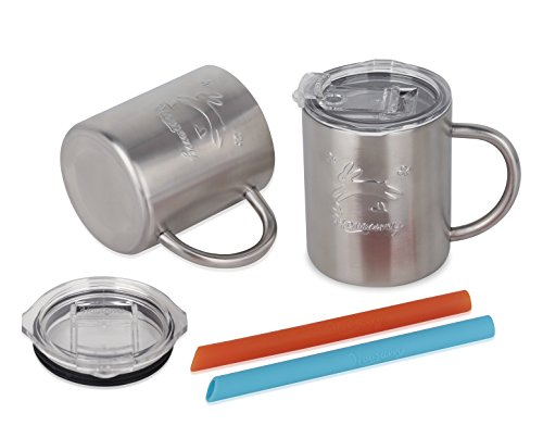 Housavvy Rabbit Stainless Steel Kids Handle Cups with Lids and Straws, 2 PACK by Housavvy (Image #3)
