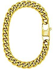 18k Gold Plated Cuban Link Chain Bracelet For Men + Gift Bag