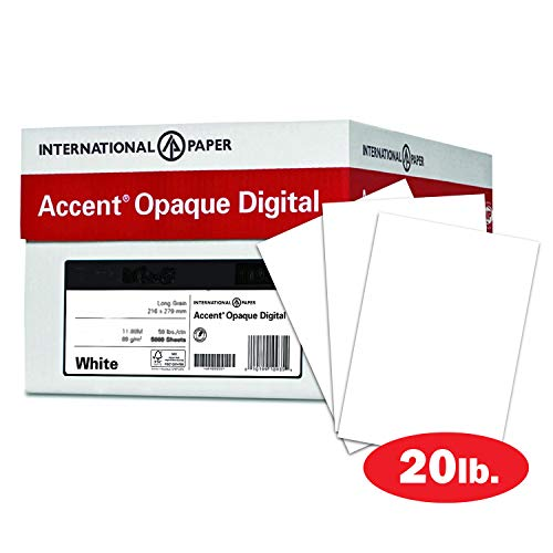 Accent Opaque 20lb White Paper, 50lb Text, 74 gsm, 12x18 Paper, 97 Bright, 5 Ream Case / 2,500 Sheets, Smooth Paper, Text Heavy Paper (188082C)