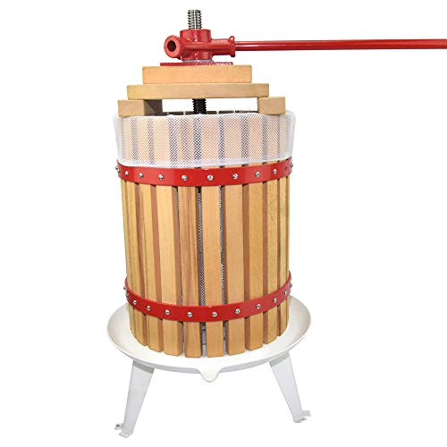 (Fruit Wine Press 4.75 Gallon Solid Wood Basket Cider Press Apple Press Berries Press Wine Making Press)