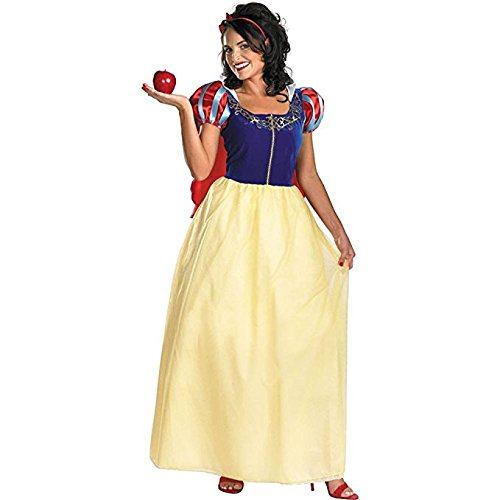 Disguise Women's Disney Snow White Deluxe Costume, Yellow/Red/Blue, (Snow White Costume For Adults)