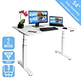 Seville Classics OFFK65823 Airlift S3 Electric Standing Desk with 54' Top, Dual Motors, 4 Memory Buttons, LED Height Display (Max. 51.4' H) 3-Section Base, White, Wood,