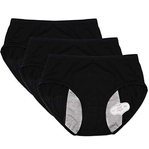 (Funcy Women Menstrual Period Protective Panties Leakproof Brief Postpartum Bleeding Underwear(Pack of 3) (3Black, M))