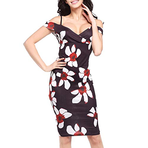 Sunhusing Elegant Ladies Sexy Off-Shoulder Sling Printed High Waist Stretch Pencil Dress Slim Bag Hip Dress ()