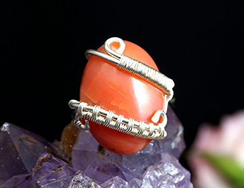 Sterling Silver ring with Dragon Vein Agate gift for her gift for mom, artisan jewellery for women, orange agate ring, ring size 7 US ()