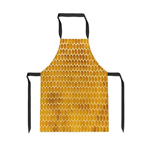 (Pinbeam Apron Newly Pulled Honey Bee Honeycomb Beeswax on Plastic with Adjustable Neck for Cooking Baking Garden)