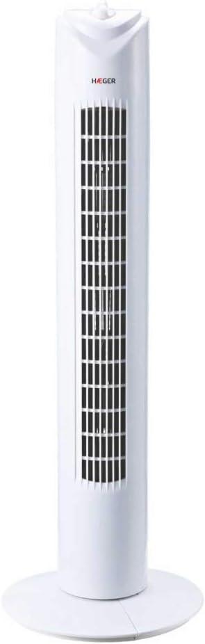 HAEGER TOWER FAN - Ventilador de Torre con 45W de potencia, 3 velocidades - temporizador 60 minutos, oscilación 90º, motor alta durabilidad 100% cobre, funcionamiento silencioso