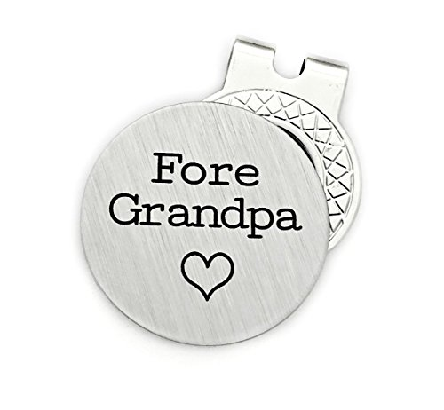 Fore Grandpa Golf Ball Marker With Hat Clip - Engraved Keepsake (Golf Keepsake)