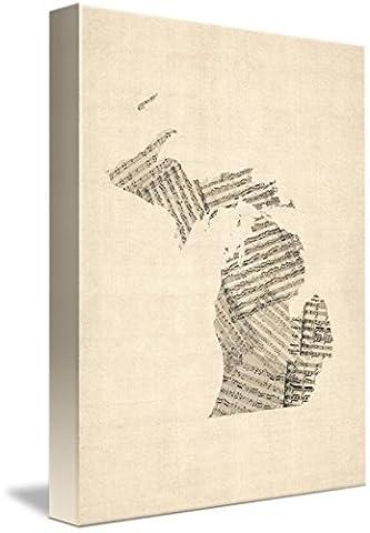 Wall Art Print entitled Michigan Map, Old Sheet Music Map by Michael Tompsett | 11 x 15 - Michigan Antique Map