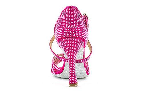 """Scarpa da ballo Limited Edition """"Titina Pully"""" in raso fucsia ,listini incrociati 5 fasce , tacco 10 cm"""
