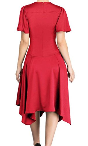 Red Hem Elegant Swing Dress Cocktail Slim Irregular Solid Women Coolred 4qSfpUxf