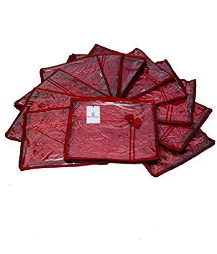 Kuber Industries Saree Cover 12 Pcs Combo In Maroon Satin ,Wedding Collection Gift