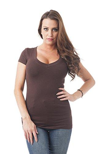 Efecto ropa mujer manga corta cuello en V camiseta, múltiples colores S-3X Chocolate