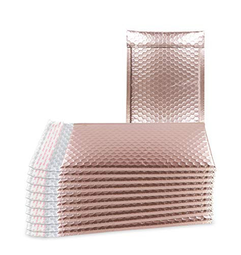 ABC 25 Pack Rose Gold Bubble mailers 6.5 x 9 Metallic padded envelopes 6.5x9 light pink cushion envelopes Peal and Seal. Adhesive shipping bags for mailing, packing. Packaging in bulk, wholesale price