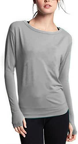 Ssyiz Women's Long Sleeve Stretchy Top Solid Color Fashion T Shirt