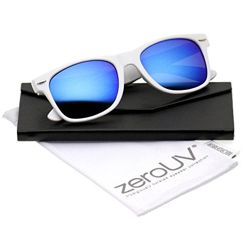 zeroUV - Retro Large Square Colored Mirror Lens Horn Rimmed Sunglasses 55mm (White / Blue - Sunglass Lenses White