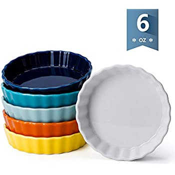 Sweese 509.002 Porcelain Round Ramekins for Baking, 6 Ounce Creme Brulee Dish, Set of 6, Hot Assorted Color